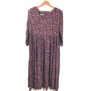 Vintage Ms Choice Micro Floral Printed Midi Dress